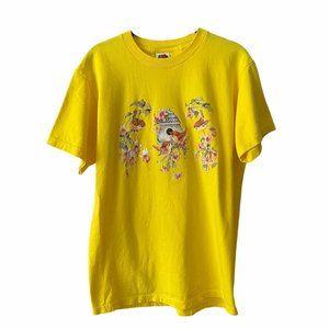 Yellow Bird Graphic Grandma Crew Neck Tee medium